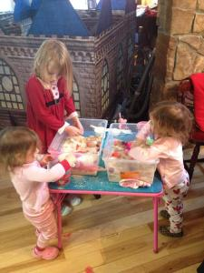 They had so much fun with the sensory bins, they completely ignored the castle in the living room!